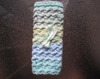 Blue and green washcloth set- Crochet washcloths- Handmade washcloths