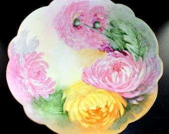 "LIMOGES Porcelain Charger Plaque Mums Artist Signed Cake Plate 13"" Diam"