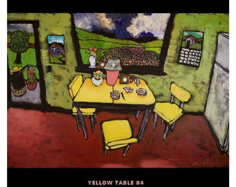 "Yellow Table #4 • Douglass Truth • Original 24"" X 36"" acrylic on canvas painting"