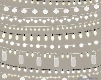 VECTOR String Lights Clipart, wedding invitation, Clipart lights, Party Lights, Wedding, Lights Clipart, Lampion , String Lights Clipart,