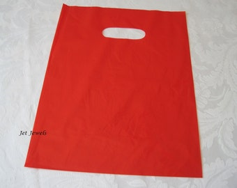 50 Plastic Bags, Red Bags, Glossy Bags, Candy Bags, Gift Bags, Party Favor Bags, Retail Bags,  Merchandise Bags, Bags with Handles 9x12