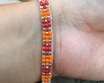 Salsa Roja Chevron Beadwoven Bracelet
