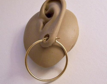 1 1/2 Inch 38mm Long Wide Gold Tone Hoop Earrings Round Extra Large Thin Tube Non Monet