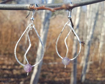 Hammered silver plated wire hoops