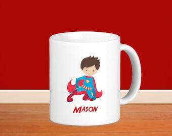 Superhero Kids Personalized Mug - Superhero Boy Red Cape with Name, Child Personalized Ceramic or Poly Mug Gift