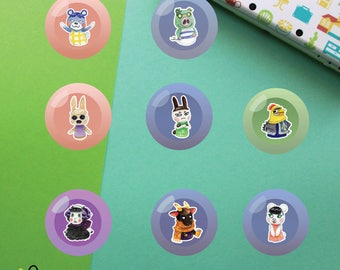 Villagers #5 Buttons | Animal Crossing New Leaf | Bluebear Cobb Coco Genji Knox Muffy Nan Pekoe