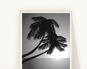 Palm Tree, Palm Print, Printable Art, Black and White Photography, Palm Tree Art, Minimalist Poster, Wall Decor Instant Download, Wall Art