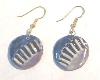 Blue& purple textured earrings