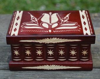JEWELRY BOX, Wooden box, Birthday gift for women, Anniversary Gift, Carved box, Mystery box, Secret box, Keepsake box, Wood box with lid