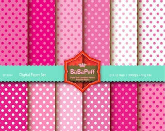 Instant Downloads, 12 Pink Polka Dots Digital Papers Clip Art. For Your Handmade Crafts Projects. Personal and Small Commercial Use. BP 0394