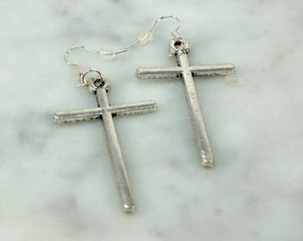 Cross Earrings, Silver Cross Earrings, Silver Cross, Dangle Earrings, Long Earrings, Large Cross Earrings, Gift for Her, Christian Jewelry