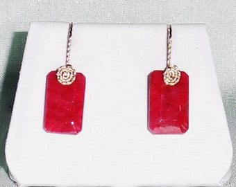 26 cts Natural Octagon cut Red Ruby gemstones, 14kt yellow gold Pierced Earrings