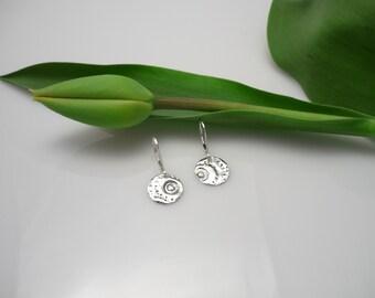 Sterling silver circle earrings,silver dangle round earrings,sterling silver earrings,silver earrings,women earrings,leverback earings