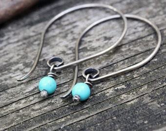Baby blue Mexican turquoise sterling silver dangle earrings