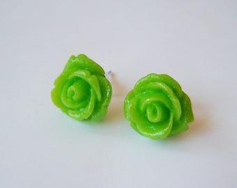 Pink glitter - green earrings