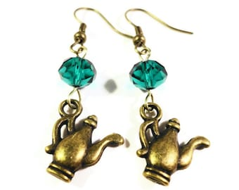 Teapot Charm Earrings, Teal Green Crystal Bead Earrings, Bronze Tea Pot Earrings, Beaded Dangle Earrings, Beadwork Earrings, Women's Jewelry