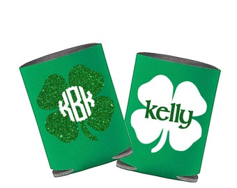 Shamrock Monogram Can Cooler ; St. Patrick's Day ; Personalized Name Green Can Cooler