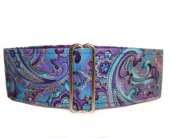 Purple Paisley Martingale Collar, 2 Inch Martingale Collar, Paisley Martingale Collar, Paisley Dog Collar, Made in Canada, Purple Dog Collar