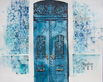 """Original watercolor painting vintage door with a touch of gold home decor wall decor 11x14"""""""