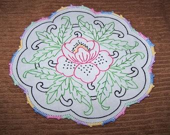 Vintage, Farmhouse, Retro, Hand Embroidery , Crocheted Small Scalloped Edge Oval Cotton  Doily