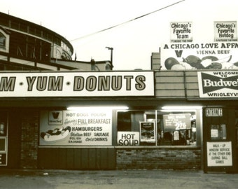 Chicago Photography, YUM YUM DONUTS, Chicago Photo, art print, vintage Wrigley field, Wrigleyville, black, white, hot dogs, baseball, Cubs