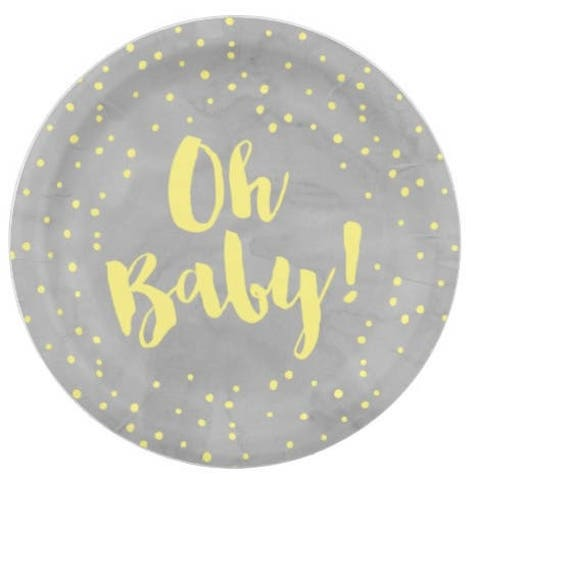 Like this item?  sc 1 st  Etsy & 24 OH BABY 7 Small Paper Plates / Baby Shower Grey Gray