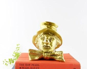 Vintage Solid Brass PM Craftsman Clown Bookends Doorstop