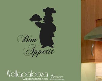 Bon Appetit Wall Decal - kitchen wall decal - chef wall decal - kitchen decal - kitchen decor - bon appetito decal - kitchen wall art