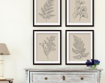 Fields of Forest (Series 4A) Set of 4- Art Prints (Featured in Gravel on Soft Tan) Botanical Plant Sketch Art Print