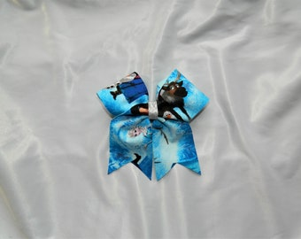 Frozen Inspired Piggy Tail Cheer Bow Hair Bow