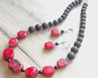 Jewelry SET, coral necklace, coral earrings, red coral necklace, red&black jewelry, gift for women, gemstone jewelry set, boho necklace