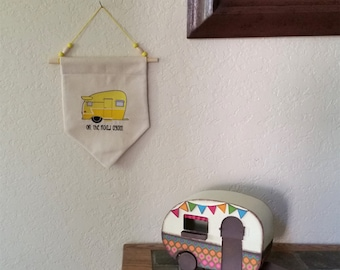 Camper, Trailer, On the Road Again,  Home Decor Hanging Wall Banner, Flag.