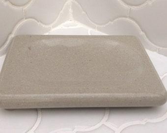 Sage Concrete - Corian Soap Dish, draining soap dish, acrylic soap dish, spoon rest