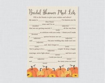 Pumpkin Bridal Shower Mad Libs Game - Printable Rustic Fall Bridal Shower Madlibs - Autumn Bridal Advice Game - Fall Pumpkin Bridal 0019