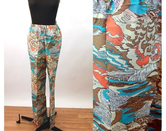 1960s pants flared leg wide leg bell bottoms op art psychedelic Size M/L