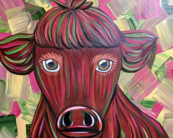 Beautiful Red Cow Painting