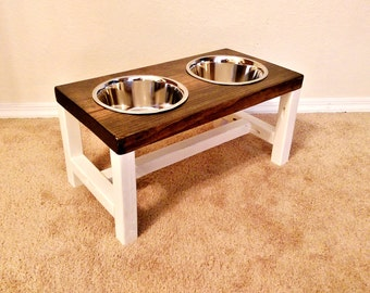 Dog Bowl Feeder - Large Dog Feeder - Farmhouse Style - Rustic Dog Bowl Stand - Raised Dog Bowl Feeder - Antique White dog feeder