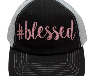 Blesses Black Mesh Back Rose Gold Glitter Hat #Blessed