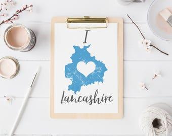 Map of Lancashire print wall map art mapping of Lancashire poster Lancs wall art typography map