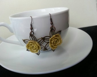 Olive green rose earrings with Bronze poinsettia filigree