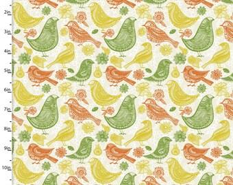 Retro Birds Quilt Cotton Green Yellow Orange Jenean Morrison Summer Skies Retro Birds in Cream for 3 Wishes Fabric