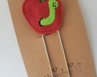 Worm in Apple Feltie Jumbo Bookmark - XL - Planner Clip - Planner Accessory- Small Gift