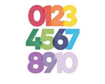 Modern Numbers print #1 | Rainbow | 8x10 | 16x20 | digital download | printable