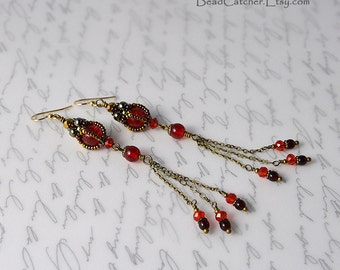 Ruby red Long earrings