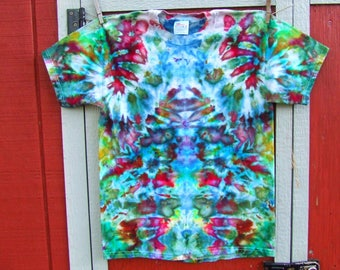 Adult Medium Ice Dyed Tie Dye T-Shirt - One of a Kind - Ready to Ship