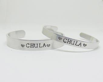 Chula cuff bracelet (chula bracelet, latinx bracelet, stamped cuff)