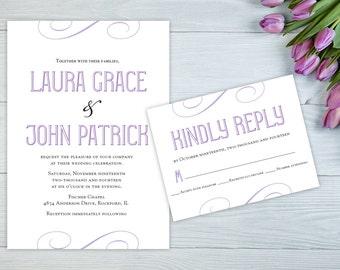 Elegant Script Wedding Invitation, Purple Invitation, Modern Wedding Invitation Set