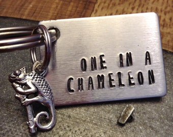One in a Chameleon Keychain; Metal Stamped Keychain; Chameleon Keychain; Keyfob; Stamped Keychain; Funny Keychain