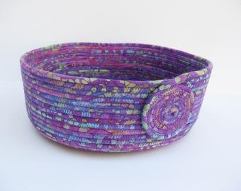 Purple Fabric Basket, Coiled Fabric Bowl, Hand Coiled Fabric Bowl, Rope Coiled Basket, Clothesline Coiled Rope Basket, Basket, Fabric Bowl