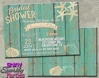 BEACH BRIDAL SHOWER Invitation - Beach Invitation - Beach Themed Bridal Shower Invitation - Beach Bridal Shower beach invites couples shower